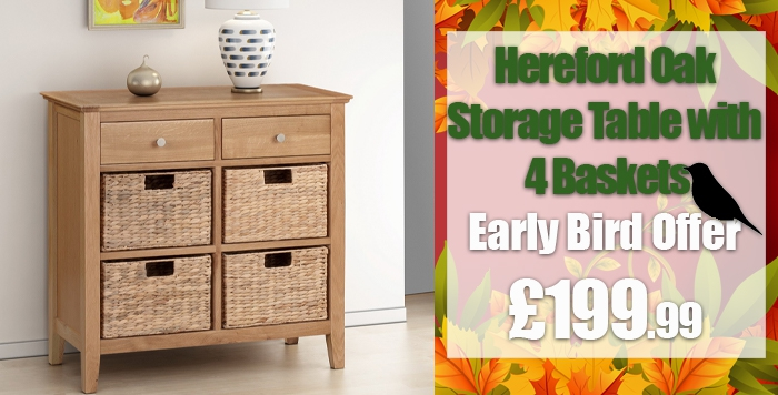 hereford oak storage table with 4 baskets