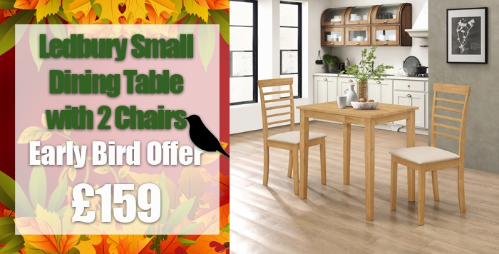 ledbury range/ledbury small dining table with 2 chairs in light oak finish