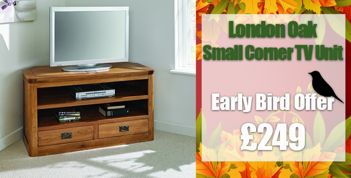 london dark oak small corner tv unit