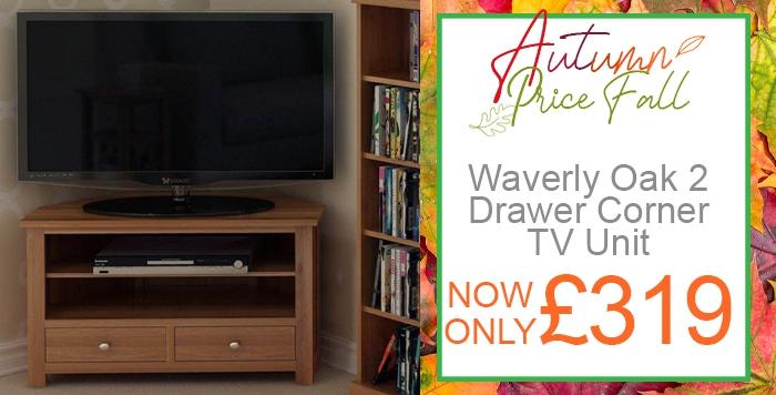 waverly oak 2 drawer corner tv unit