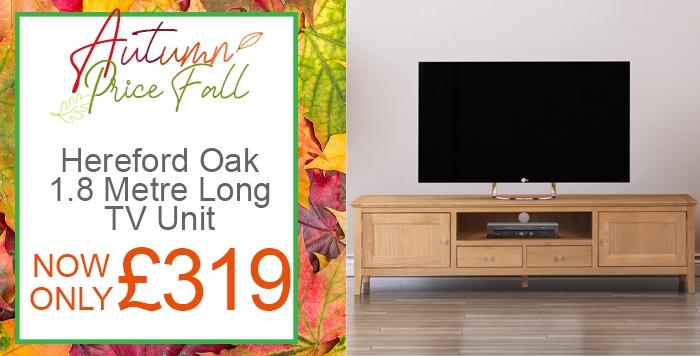 hereford oak 1-8 meter long tv unit