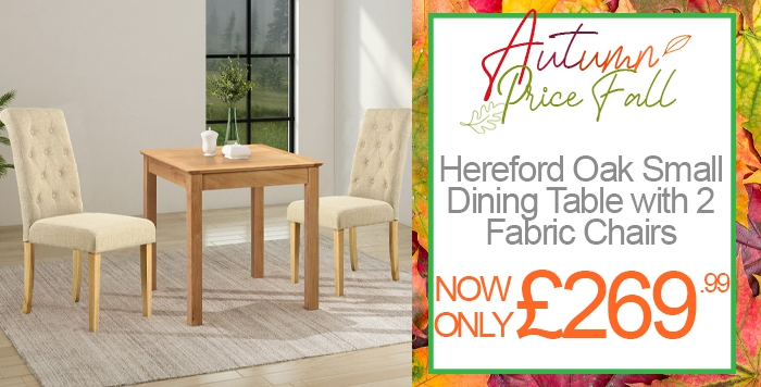 hereford oak small dining table with 2 fabric chairs